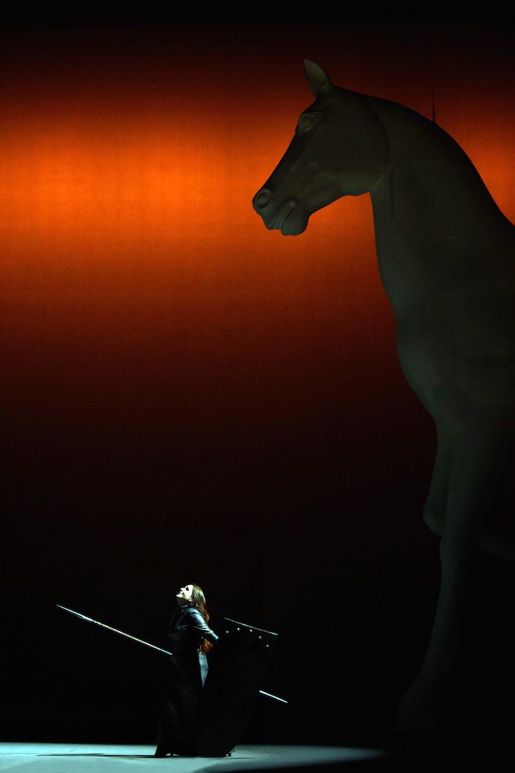 Brünnhilde (Elena Nebera) am Ende. Schöner Regie-Gag: Das Riesenross Grane, das nicht ins Feuer reitet, sondern wegfliegt. (Foto: Karl Forster, Landestheater)