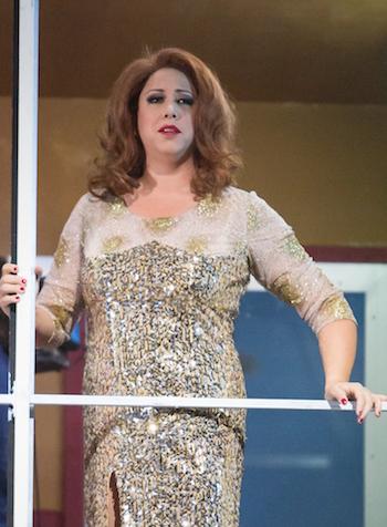 """Nadine Weissmann als Erda in """"Rheingold"""" bei den Bayreuther Festspielen 2015. © Enrico Nawrath/Bayreuther Festspiele"""