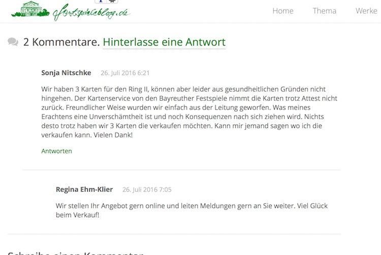 Kartenangebot Bayreuther Festspiele 2016, Ring II, Screenshot
