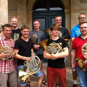 Acht Hornisten des Festspielorchesters geben am Donnerstag, 7. August, in Schloss Wernstein ein Konzert