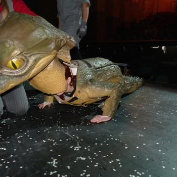Jetzt der Kopf — und fertig ist das Krokodil für den Auftritt bei Siegfried. © R. Ehm-Klier/festspieleblog.de