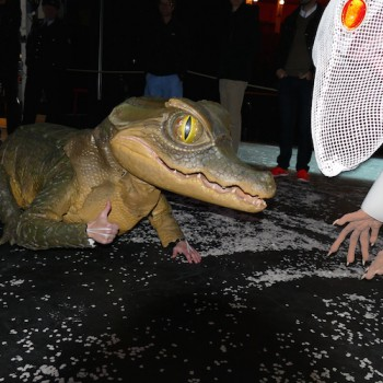 Keine Angst vor großen Tieren: Das Baby-Krokodil aus Siegfried mit der Mama-Ratte aus Lohengrin. © R. Ehm-Klier/festspieleblog.de