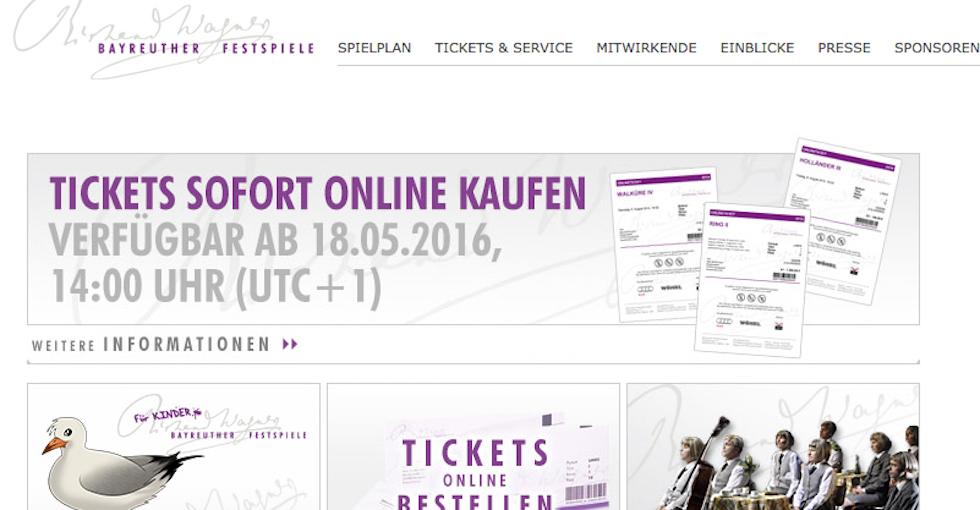Überraschend sind Karten für die Bayreuther Festspiele wieder am 18. Mai zu haben. Das erfährt man auf der Homepage.